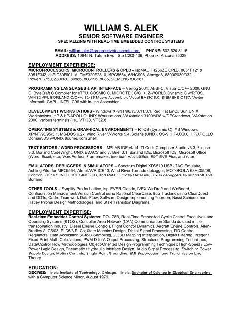 Pdf Resume Of William S Alek Intalek