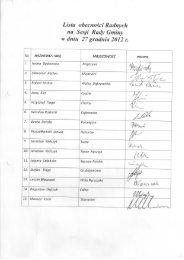 Listy obecności na XXI Sesji Rady Gminy Poświętne w dniu 27.12 ...
