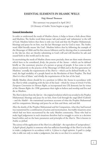 ESSENTIAL ELEMENTS IN ISLAMIC WILLS - Wynne Chambers