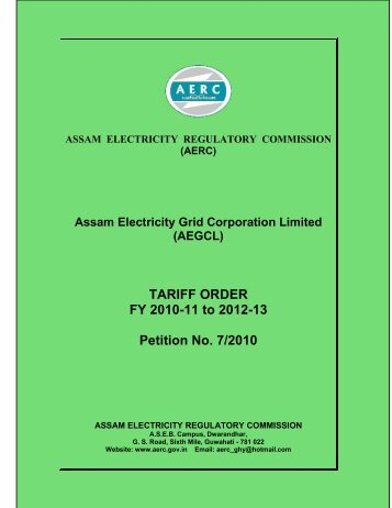 TARIFF ORDER FY 2010-11 to 2012-13 Petition No. 7/2010 - aegcl