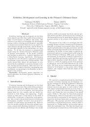 Evolution, Development and Learning in the Prisoner's Dilemma ...