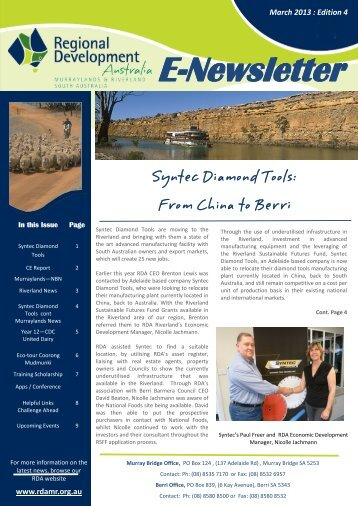 E-Newsletter - RDA Murraylands and Riverland Inc