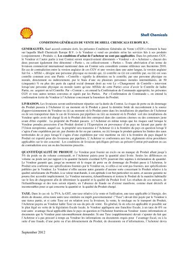 General terms and conditions of sale for Shell Chemicals Europe BV ...