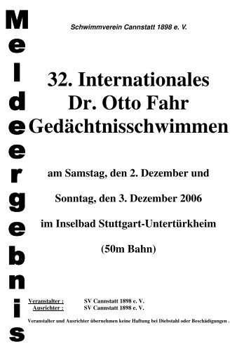 32. Internationales Dr. Otto Fahr ... - SV Cannstatt