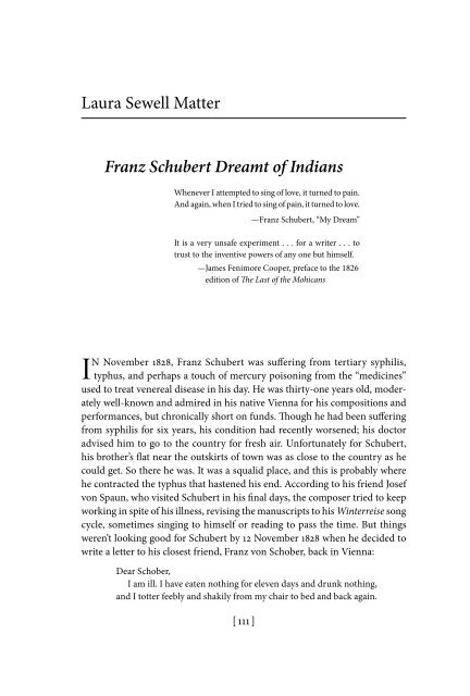 Franz Schubert Dreamt of Indians - The Georgia Review