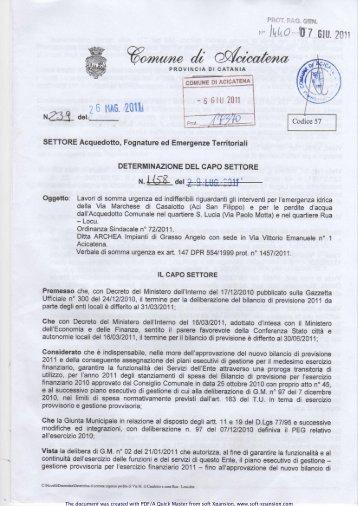 PDF/A Technology - soft Xpansion - Comune di Aci Catena