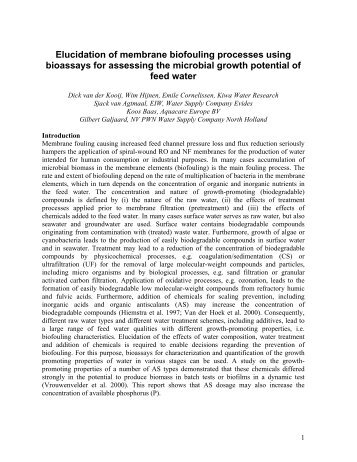 Influence of biological stability of feed water of spiral wound ... - Evides