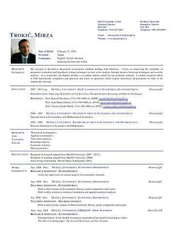 Mirza Trokic - Department of Economics and Business