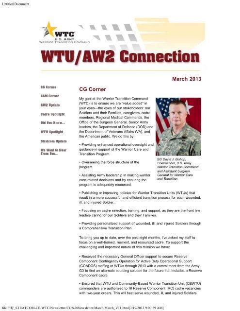 March 2013 CG Corner - Warrior Transition Command - U S  Army