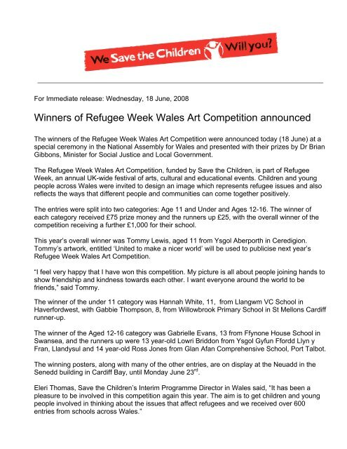 Winners of Refugee Week Wales Art Competition announced