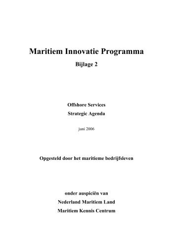 Maritiem Innovatie Programma Bijlage 2 Offshore Services Strategic ...