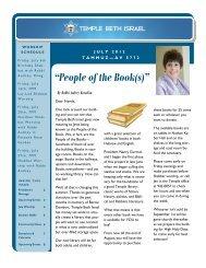 July 2012 Newsletter - Temple Beth Israel