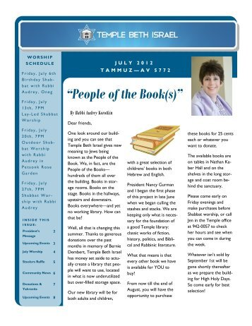July 2012 Newsletter - Temple Beth Israel