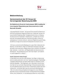 Medienmitteilung Seniorenzentrum der SV ... - SV (Deutschland)