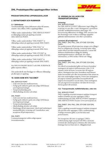 DHL Produktspecifika uppdragsvillkor inrikes