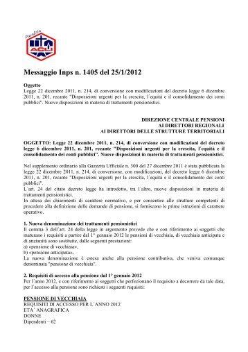 Messaggio Inps n. 1405 del 25/1/2012 - Info-Scuole