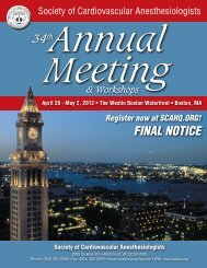FINAL NOTICE - Society of Cardiovascular Anesthesiologists