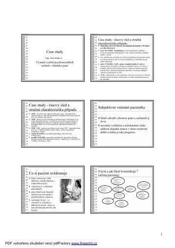 Význam využití psychosociálních technik v lékařské praxi. Case study