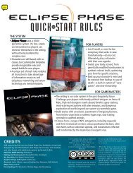 Eclipse Phase Quick-Start Rules - Rob Boyle