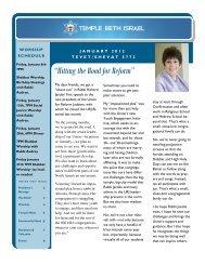 January 2012 Newsletter & Calendar - Temple Beth Israel
