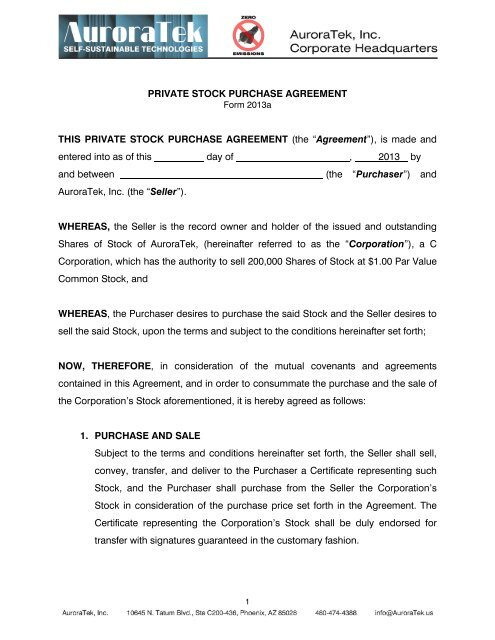 Private Stock Purchase Agreement This Intalek