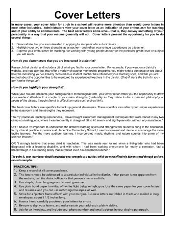 Education Cover Letters   Career Center