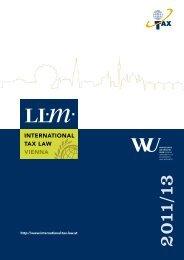 Brochure: LL.M International Tax Law - WU Executive Academy