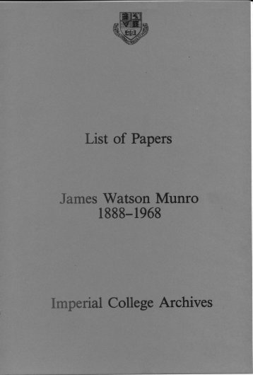 James Watson Munro 1888-1968 - Imperial College London