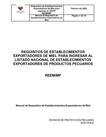 Requisitos de Establecimientos Exportadores de Miel para Ingresar ...