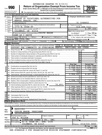 Form 990 (2010) - COVA