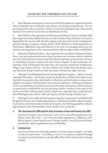 Charities, War, Terrorism & the Law - Wynne Chambers