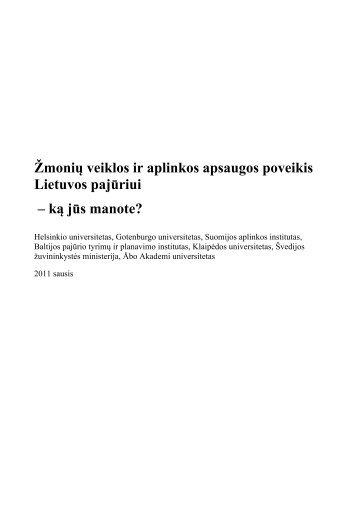 Žmonių veiklos ir aplinkos apsaugos poveikis Lietuvos ... - PREHAB