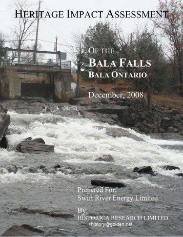 heritage impact assessment bala falls - Bala Falls Small Hydro Project