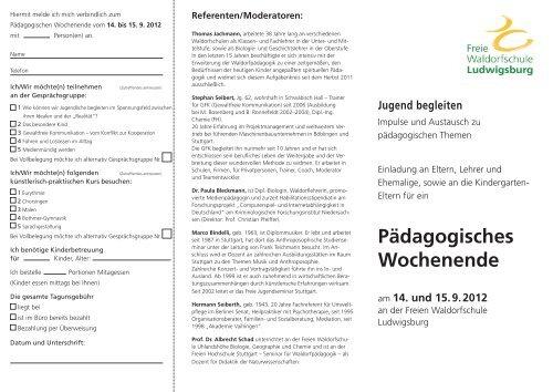 Pädagogisches Wochenende - Freie Waldorfschule Ludwigsburg