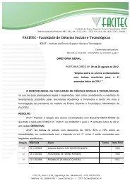 Resultado definitivo - 2º semestre de 2012 - Facitec