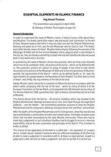 Elements of Islamic Finance - Wynne Chambers