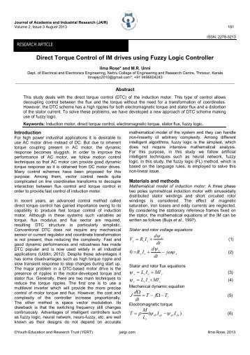 Direct Torque Control of IM drives using Fuzzy Logic Controller