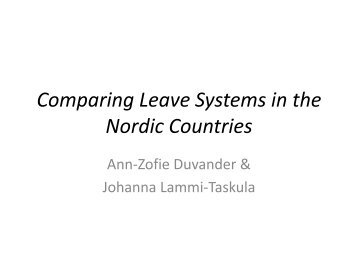 Comparing leave systems in the Nordic Countries - International ...