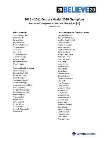 2010 – 2011 Centura Health 2020 Champions - Centuranews.org