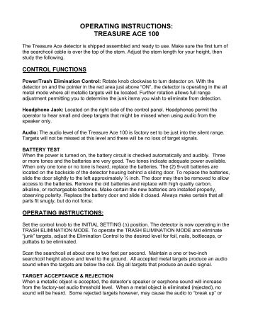 Operating Instructions Great Lakes Metal Detecting