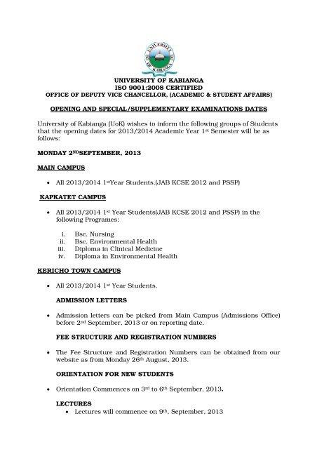 opening,special & supplementary exam dates - Kabianga