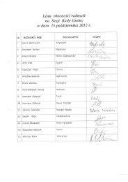 Lista obecności radnych na Sesji Rady Gminy