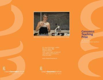 About the OGI Genomics Teaching Prize - Ontario Genomics Institute