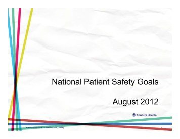 2013 National Patient Safety Goals power point ... - Centuranews.org