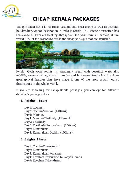 CHEAP KERALA PACKAGES