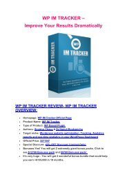 Hidden features review of WP IM Tracker and special $9700 bonus