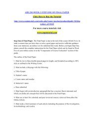 ABS 200 WEEK 3 STEP ONE OF FINAL PAPER/Uoptutorial
