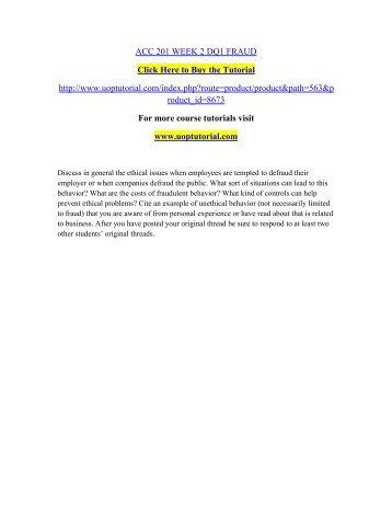 ACC 201 WEEK 2 DQ1 FRAUD/Uoptutorial