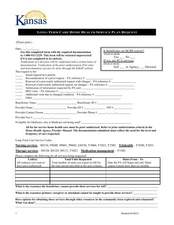 Long Term Care Home Health Service Plan Request - KMAP