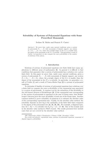 Solvability of Systems of Polynomial Equations with Some ...